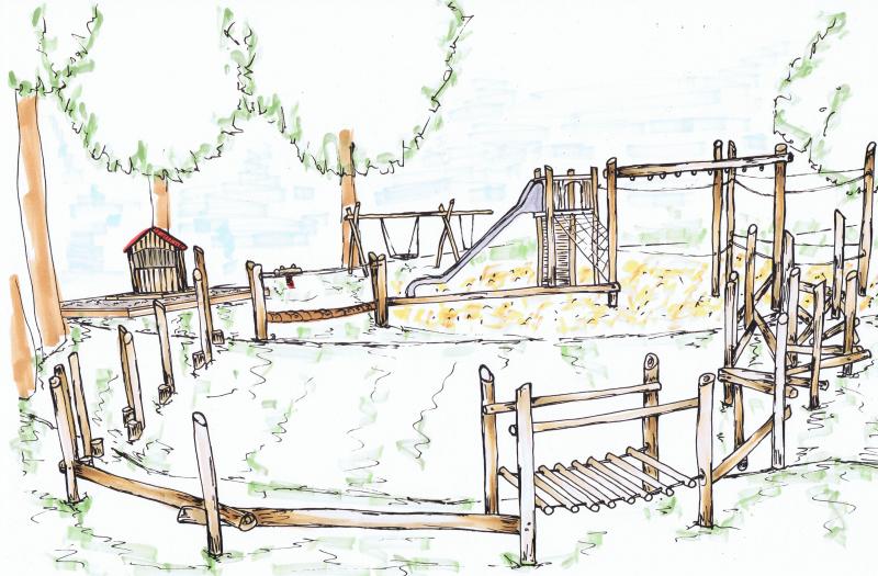 Ansichtsskizze des geplanten neuen Spielplatzes